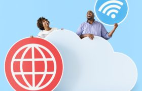 Happy people with cloud and technology by Rawpixel