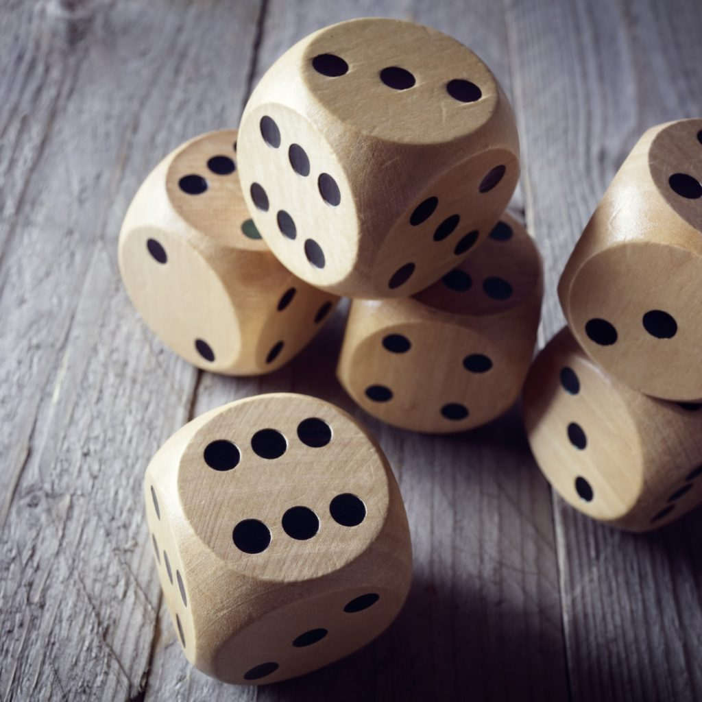 Rolling the dice concept for business risk, chance, good luck or gambling @BrianAJackson