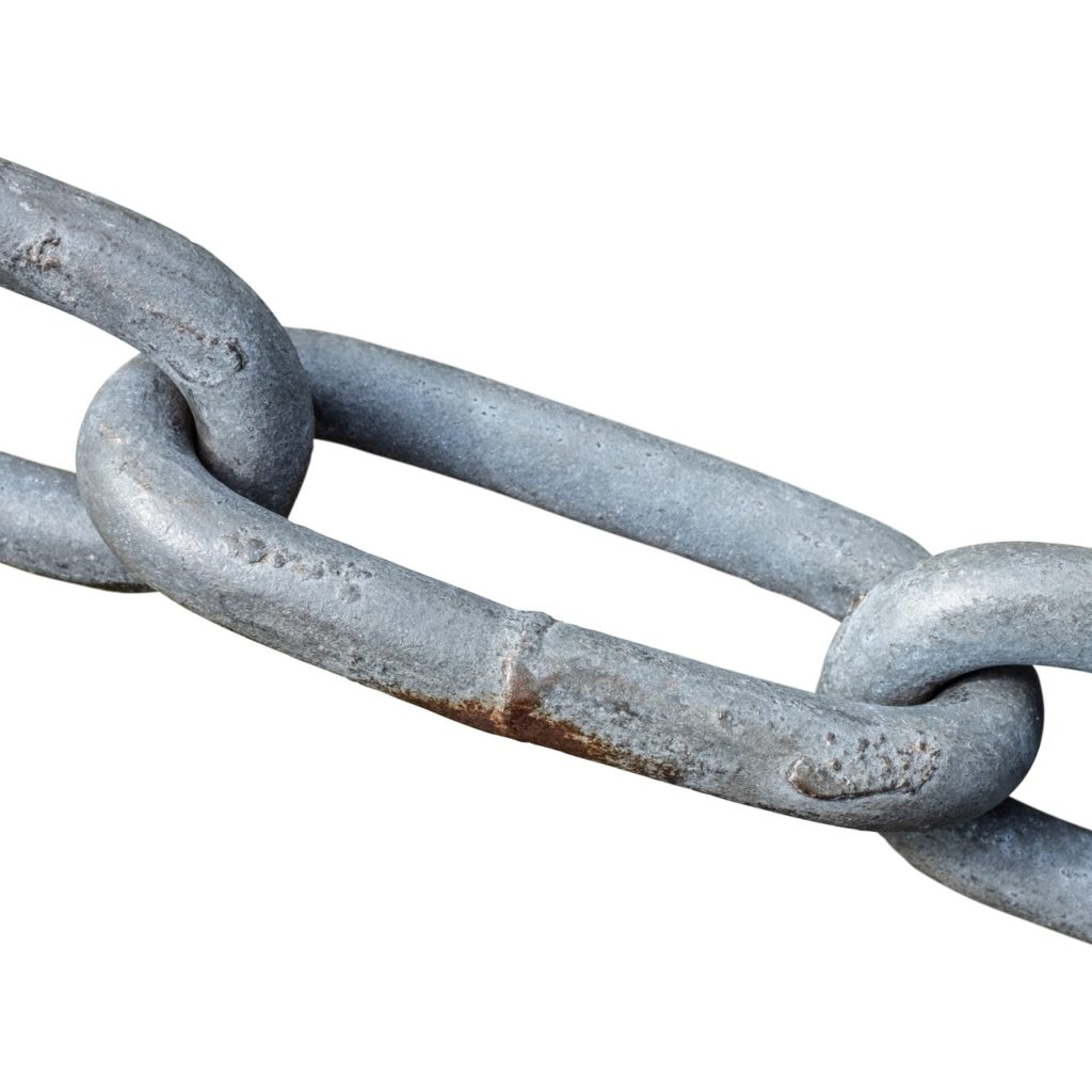 Isolated Strong Steel Chain On A White Background @mrdoomits