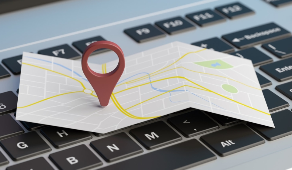 Map pointer location on a laptop. 3d illustration rawf8