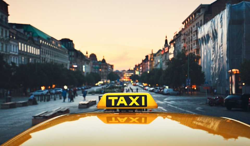Taxi car on the city street